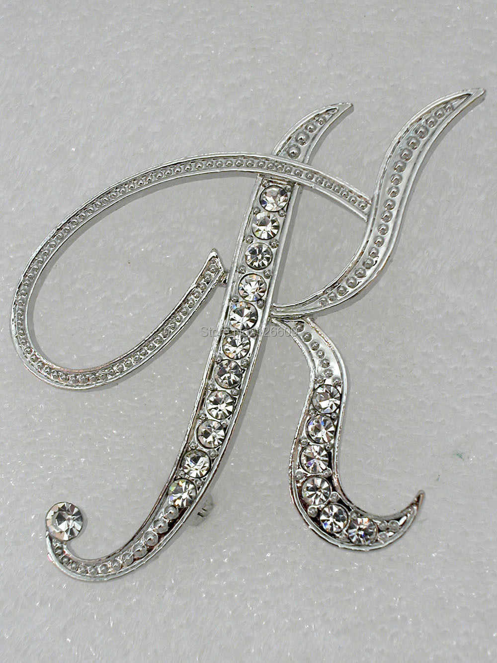 Clear Rhinestone Fashion Clothing letters K Crystal brooches pins gift jewelry C2070-K - Wei's Mall store