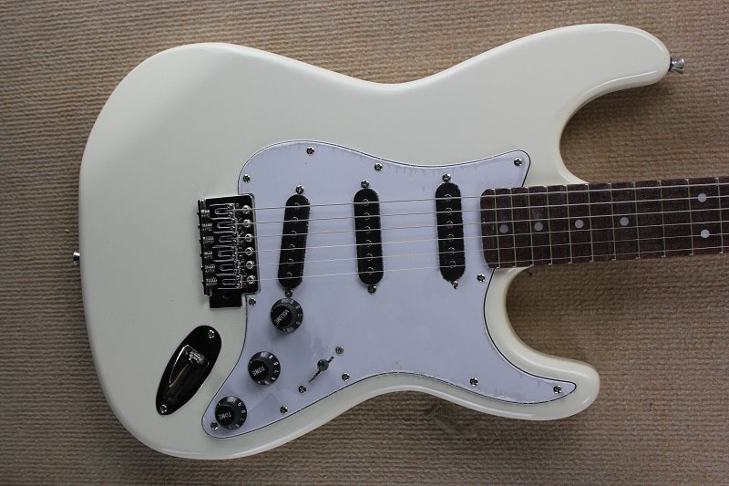 Free shipping rose wood Scalloped Fingerboard New Custom Str F ST big headstock Head white Electric Guitar Black pickup(China (Mainland))