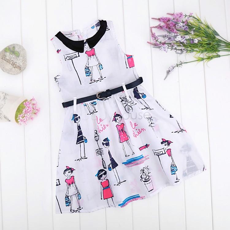 2015 New Baby Princess Dress Kids Casual Vestidos Girls Summer Sundress Fashion Belt sleeveless Vest Dresses Age 2-9Y 38<br><br>Aliexpress