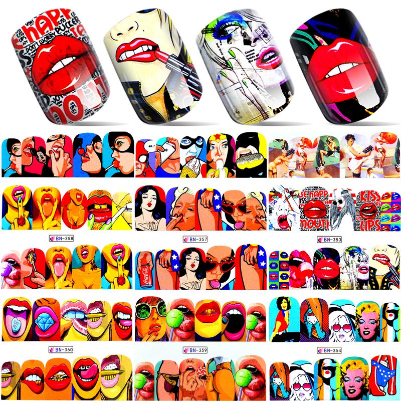 1 Sheet 2017 New Nail Fashion Sticker Full Cover Lips Cute Printing Water Transfer Tips Nail Art Decorations(China (Mainland))