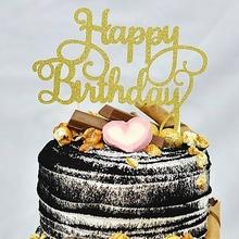 Buy Gold Glitter Happy Birthday Cake Topper Calligraphy Topper Birthday Cake Topper for $1.98 in AliExpress store