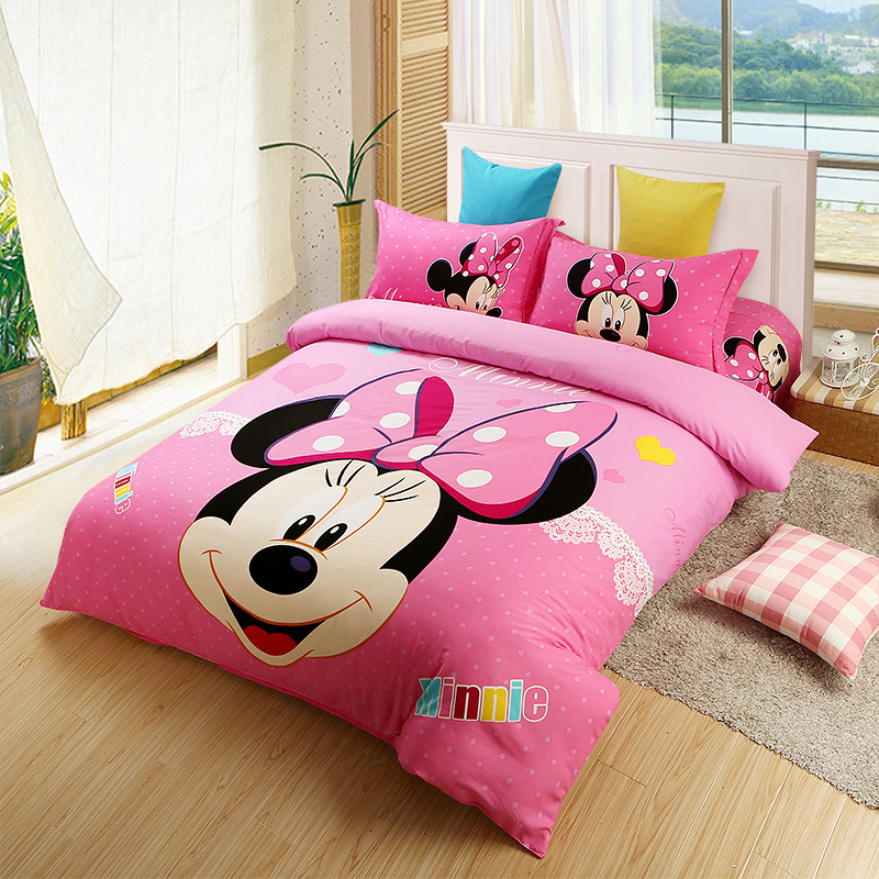Pink Minnie Mouse Comforter Set Twin Full Queen King Size Bedding Set Oil Printing Girls Cotton