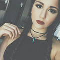 Sexy Girls Choker Turquoise necklace Black wool double Necklace PL004