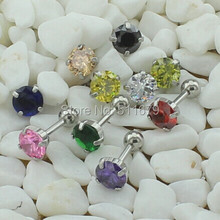 MIXED 10 Color CZ EAR CARTILAGE BODY PIERCING TRAGUS HELIX STUD RING EARRING BARBELL(China (Mainland))