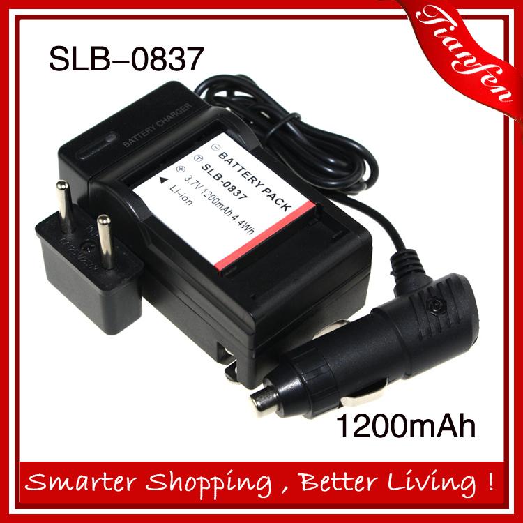 Hot sale SLB-0837 battery charger+car charger+ SLB0837 SLB 0837 3.7v 1200mAh For SAMSUNG Camera Battery Fuji NP-40 Pentax(China (Mainland))