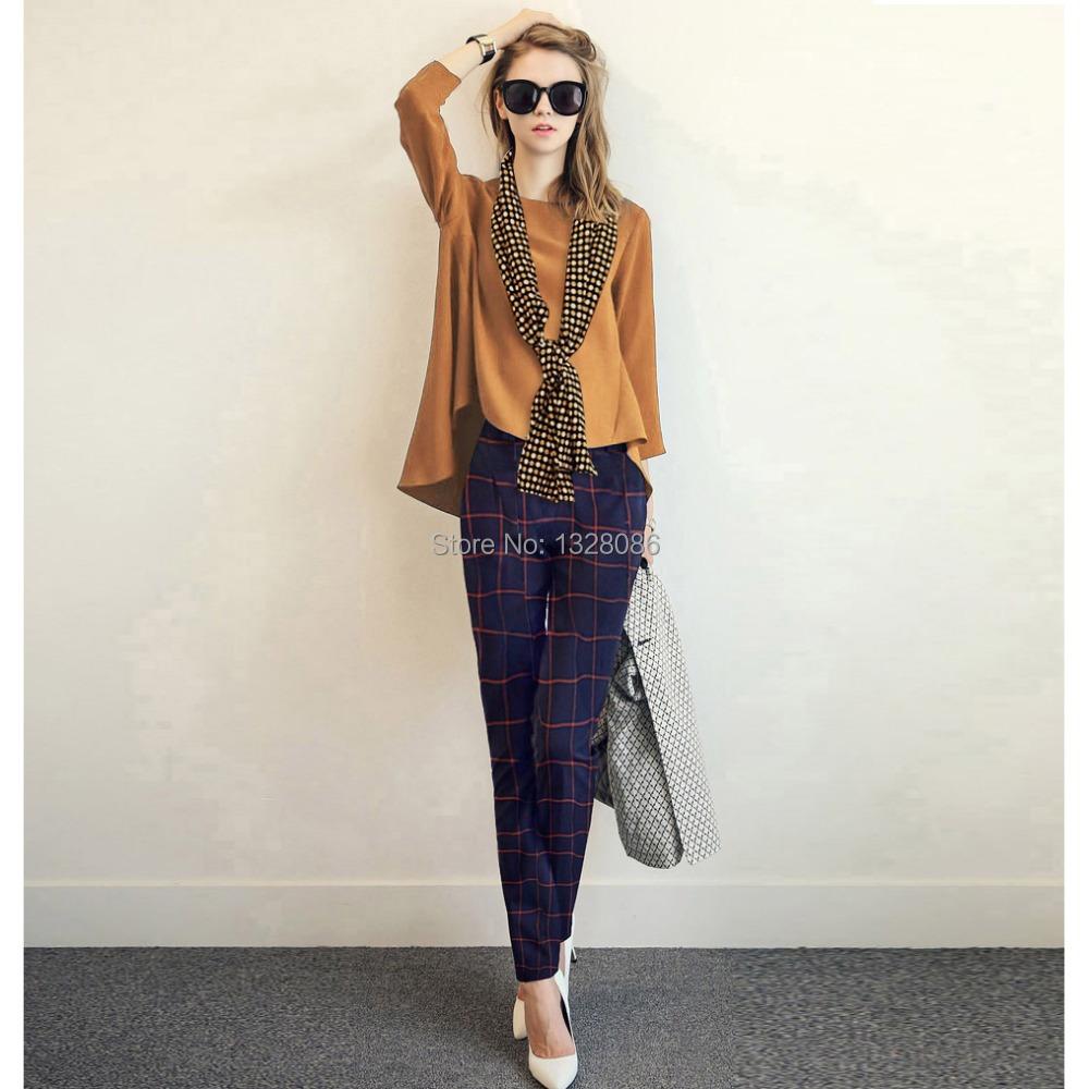 new spring autumn women 3 4 blouse plaid pants set plus. Black Bedroom Furniture Sets. Home Design Ideas