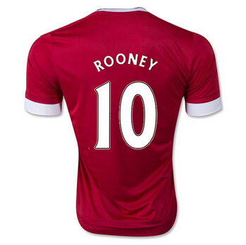 Top Thai Quality 2016 SOCCER JERSEYS Wayne ROONEY HOME Football shirts RED 2015-16 Free shipping(China (Mainland))