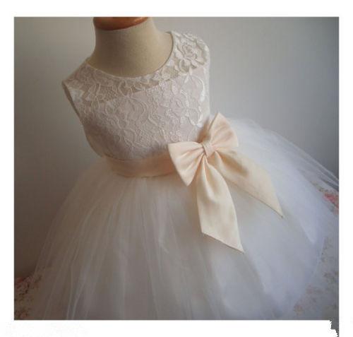 2015 Flower Girl Dress Little Baby Girl Baptism Dress Sleeveless Infant Toddler cheap flower girl dresses for weddings(China (Mainland))