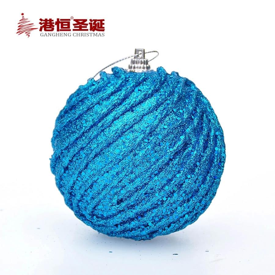 Christmas Tree Ornaments 8 cm blue foam high quality Christmas balls 20 g (A pack of six balls) (GHB007-9)(China (Mainland))