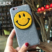 LACK Newest case Funny Smile Glitter Soft TPU Silicone bling phone case for iphone 6 6s 6plus 5 5S SE back cover caps fundas