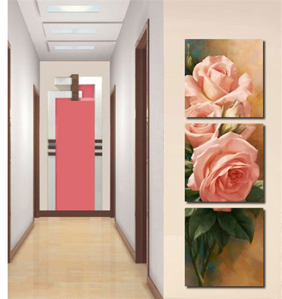 Free shipping 3 piece DIY oil painting canvas flower home decoration living room painting on canvas by numbers(China (Mainland))