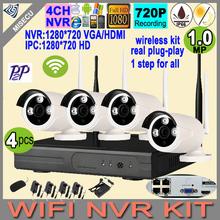 New plug&play 720P 1080P VGA/HDMI 4CH HD NVR wifi KIT Wireless nvr 30-50m signal P2P 720p WIFI IP Camera Waterproof CCTV kit P2P
