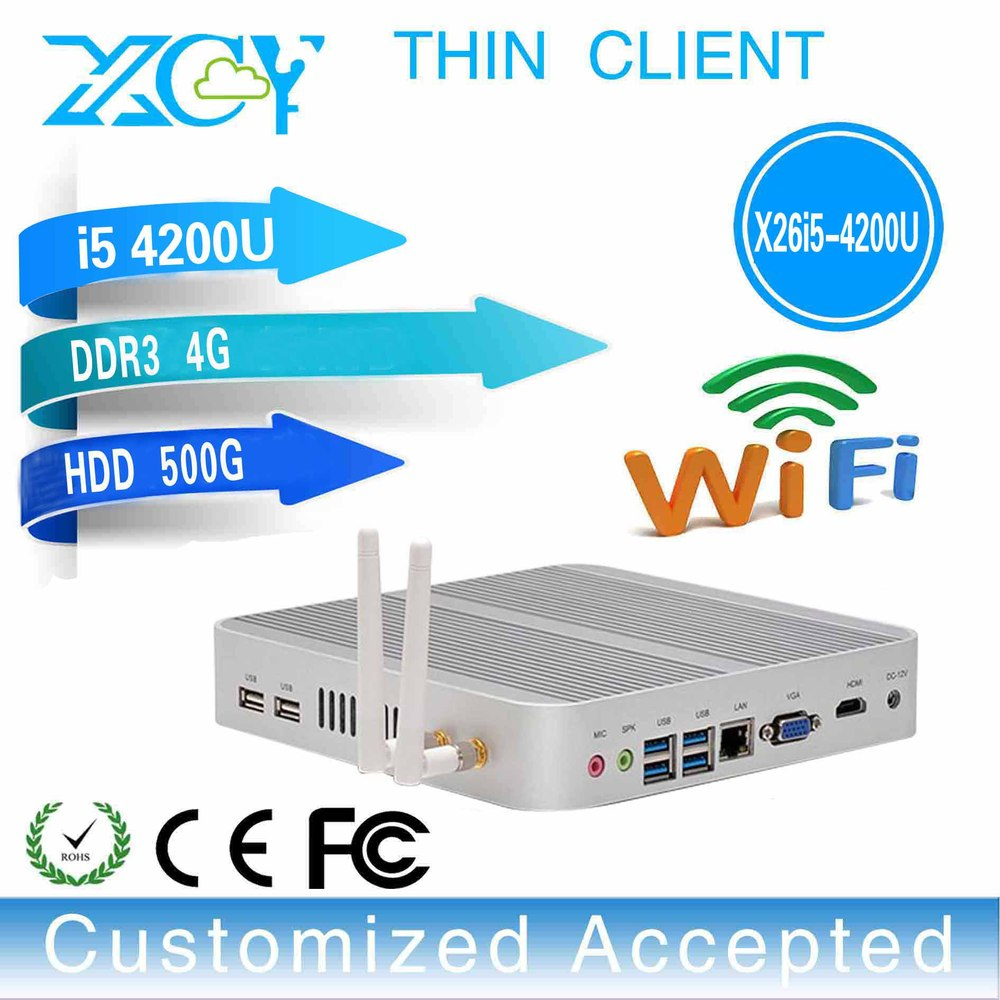 thin client pc vga mini pc desktop industrial computer X26-I5 4200u 4GB RAM 500GB SSD with input 110-220V(AC),output:12V(DC)/2A(China (Mainland))