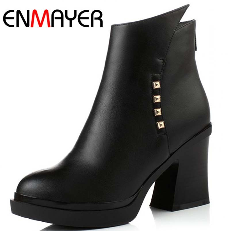 ENMAYER New Size 34-39 Women Ankle Boots Buckle Decoration High Heels Autumn Shoes Boots Winter Fur Shoes Woman Motorcycle Boots<br><br>Aliexpress
