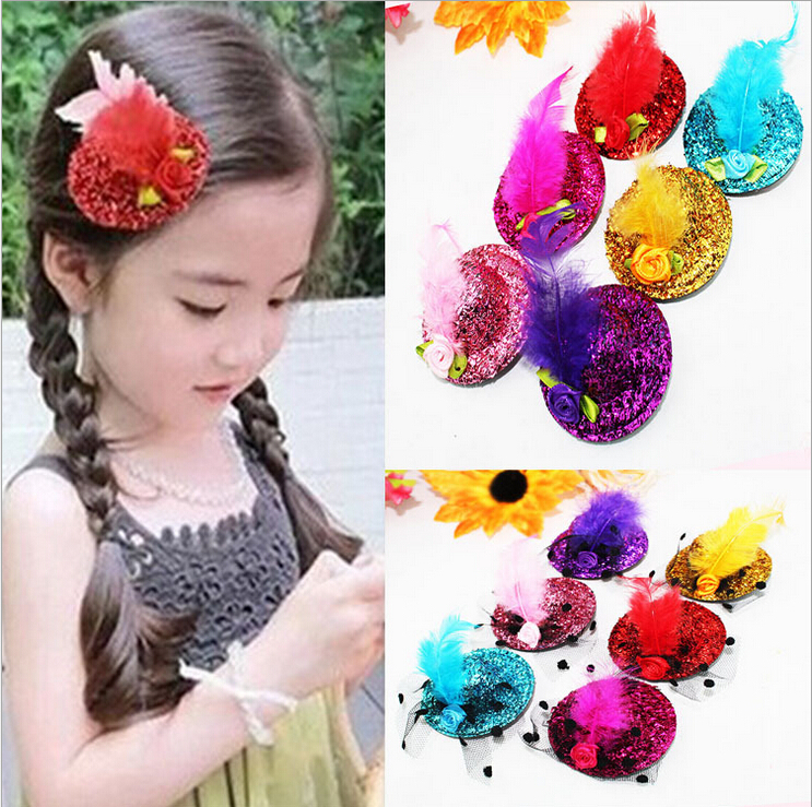 New arrivals hotselling small hat hair clips for girls multicolor billycock hair ornaments barrettes indian styles 12 pcs/lot(China (Mainland))