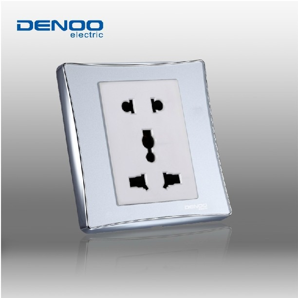 Free Shipping, DENOO Luxury Wall Switch Panel, 5-Hole Multifunction Socket, Dancing Series, Light switch,10A, 110~250V(China (Mainland))