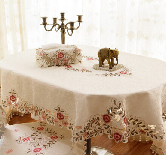 Big size Oval hand made embroidered table cloth High quality table cover chinese embroidered tablecloths wedding table cloth(China (Mainland))