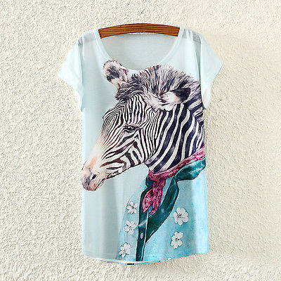 Vintage Fashion Summer Women Short Sleeve Mr Zebra Print T Shirt Tops Tee(China (Mainland))