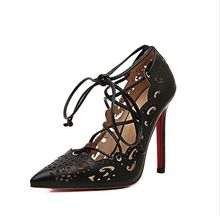 Red sole pumps for women high heels pointed toe gold heels 2016 spring shoes fashion cutout
