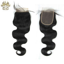Peruvian virgin hair lace closure 4*4 blench knots free part closure human hair closure