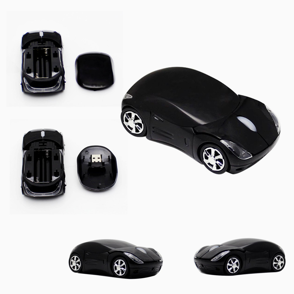 Mini Car Shaped 2.4GHz Wireless Mouse 1600DPI Optical Gaming Mouse Mice for Computer PC with usb Receiver Black(China (Mainland))