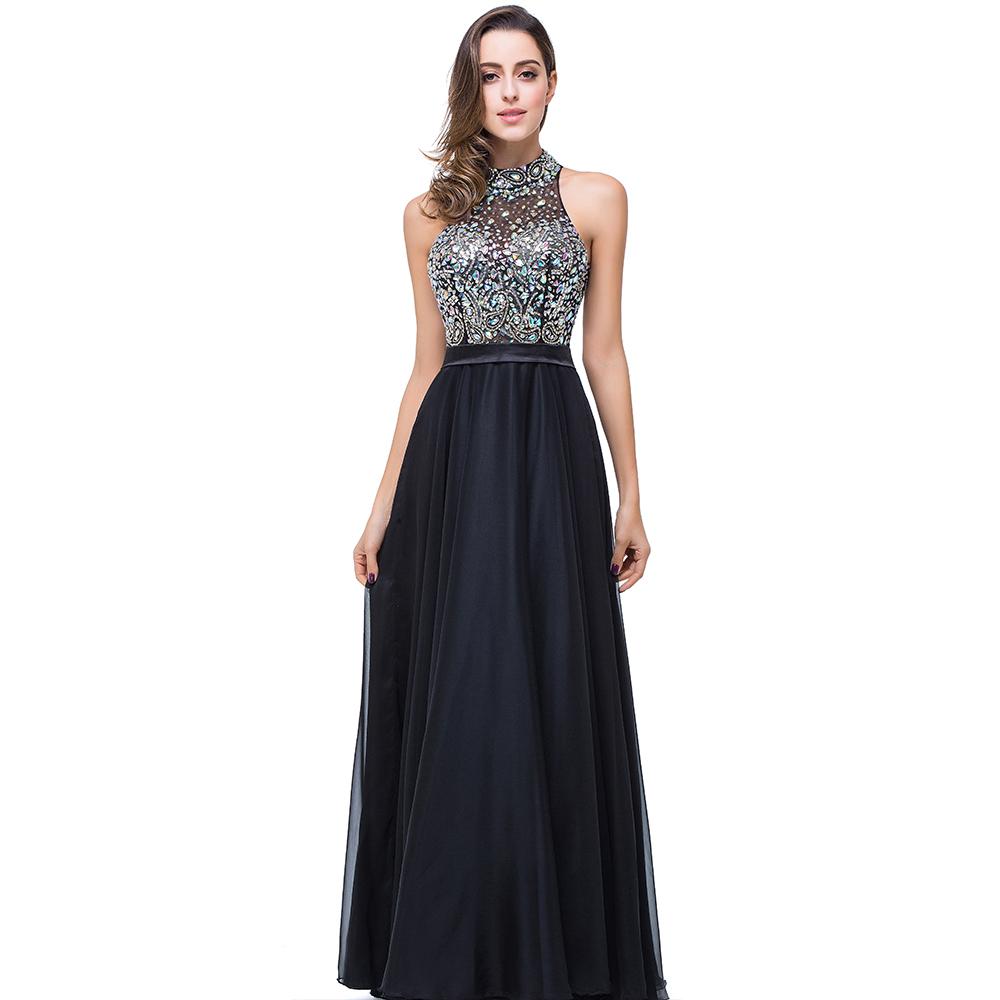 robe de soiree sexy halter open back long prom dresses 2016 a line floor length luxury crystals. Black Bedroom Furniture Sets. Home Design Ideas