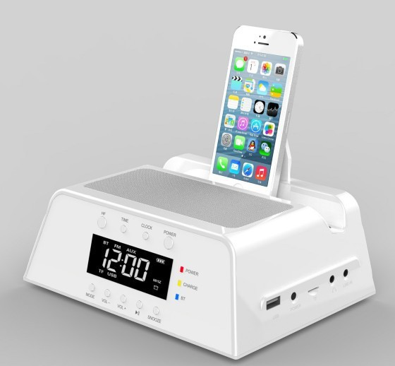 2015 dock charger station csr bluetooth stereo speaker lcd display digital fm radio alarm clock. Black Bedroom Furniture Sets. Home Design Ideas