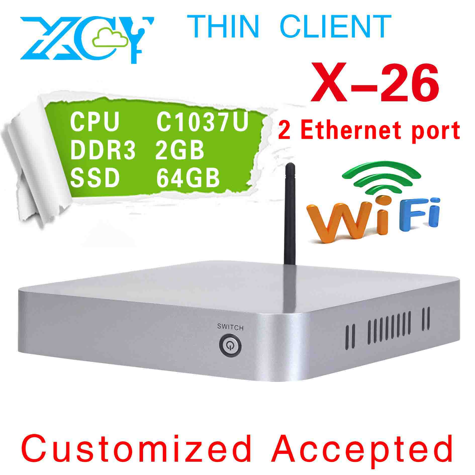 XCY X-26 2LAN industrial pc, two Lan port embedded pc, wireless ncomputing, C1037U+NM70 Chipset(China (Mainland))