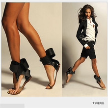 Summer Style New 2016 Fashion Retro Big Bowtie Women Sandals Shoes Women Flats With Sandals for Party  #2654