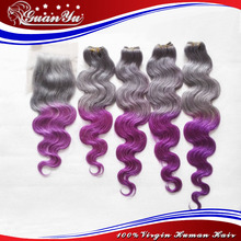 2016 Super Trend  Grey/ Purple Human Hair Extensions Body Wave Customized Color Malaysian Virgin Hair Body Wave With Closure