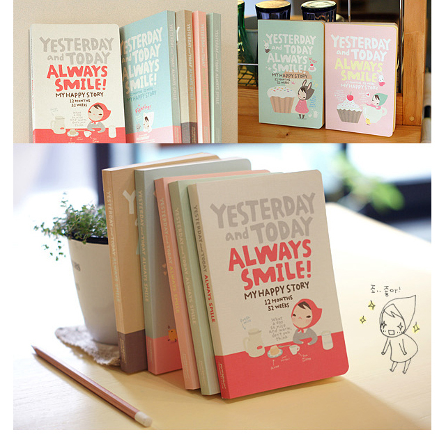 Cute Notebook Red Hat Girl Weekly Plan Diary Book Day Planner Kawaii Schedule Book Memo pad School Office Stationery(China (Mainland))