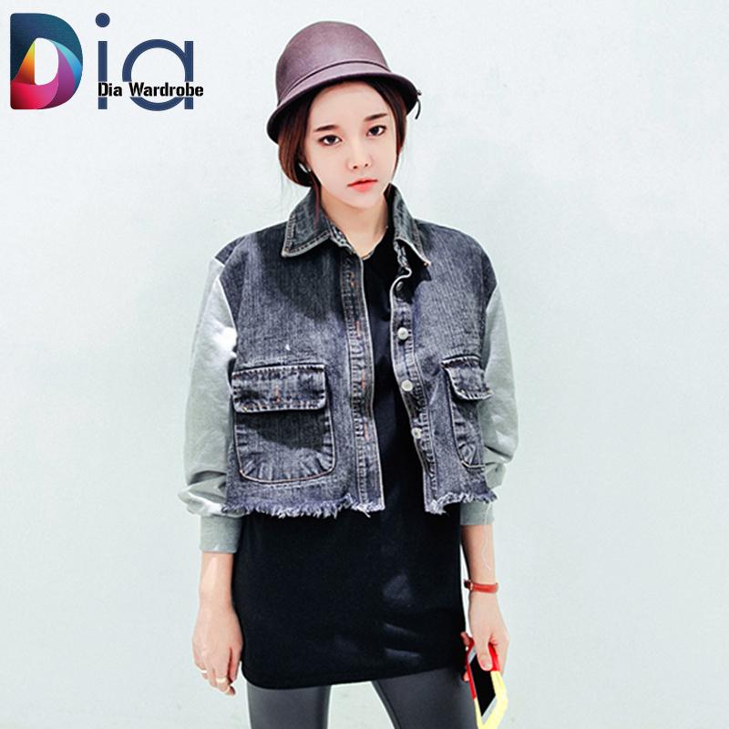 Women Jeans Coats Vintage Sweater Sleeve Short Jackets Patchwork Denim Female Outerwear &
