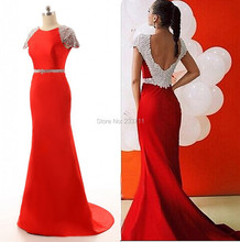 Charming Satin Beaded Red Mermaid Long Evening Dresses 2016 Robe De Soiree Backless Court Train 11183(China (Mainland))
