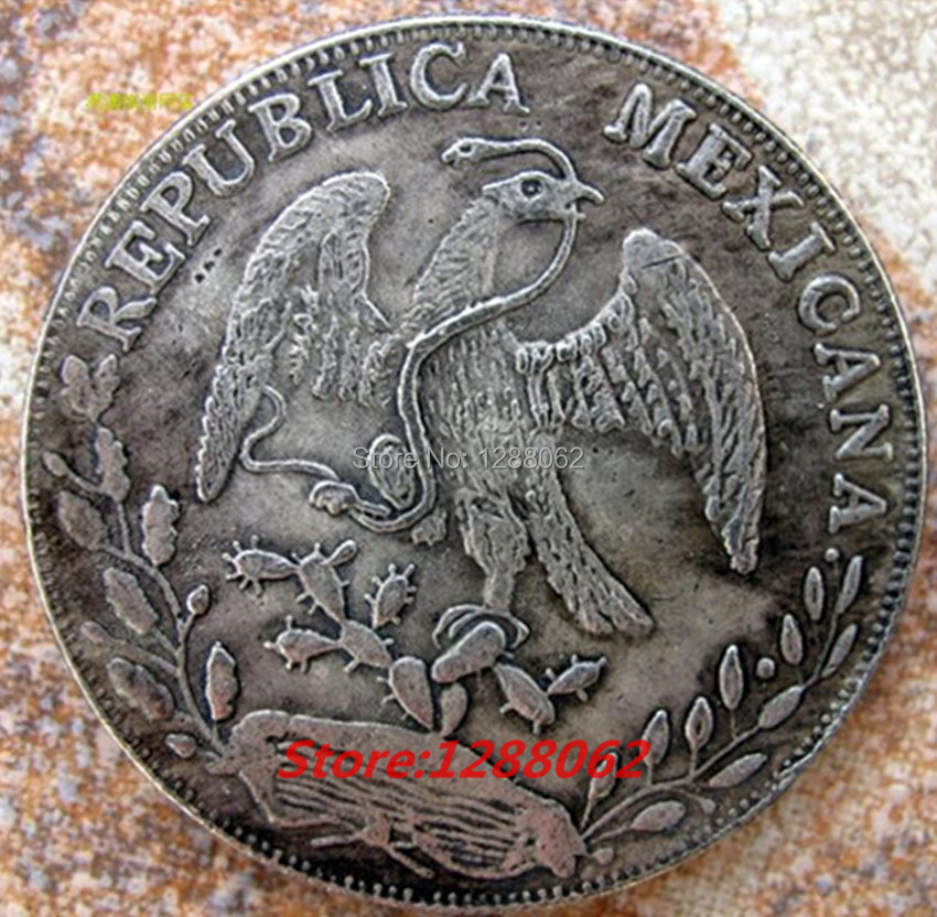 5 pcs/lot. The Republica Mexicana 1882 eagle snake Antique silver plated souvenir coin(China (Mainland))