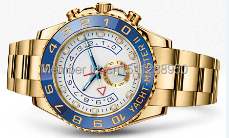 2014 fashion men's luxury sports watch YACHT MASTER II automatic ceramic bezel original clasp oyster perpetual man watches(China (Mainland))