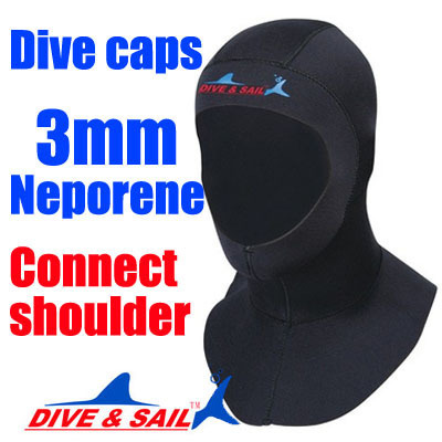 Brand 3mm Neoprene Scuba diving cap Equipment With shoulder Snorkeling Hat hood Neck cover Winter swim Warm Wetsuit Protect hair(China (Mainland))
