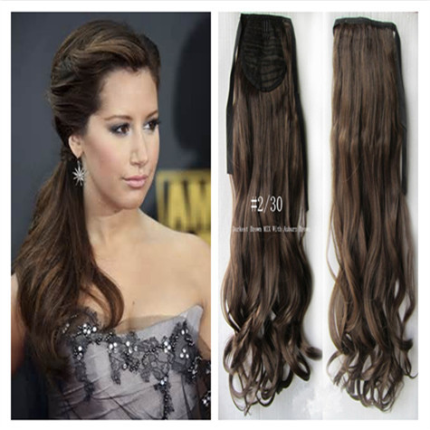 Affordable Darkest Brown MixWith Auburn Color Ponytail 20 inch100g Drawstring ClipIn Long Wavy Synthetic FreeShipping - wigs & hair extensions store