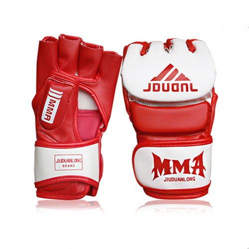 Wholesale Red White Black Half Finger Boxing Kick Punching Boxeo Training Gloves Men equipment Extension Wrist PU Leather Gloves(China (Mainland))