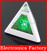 7 LED Change Colors Triangle Pyramid LCD Digital Snooze Alarm Clock Time Data Week Temperature Thermometer C/f Hour Home(China (Mainland))