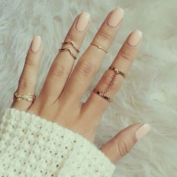 Stacking punk style shiny gold midi ring finger knuckle September Charm sheet glass for anelli ring jewelry ring