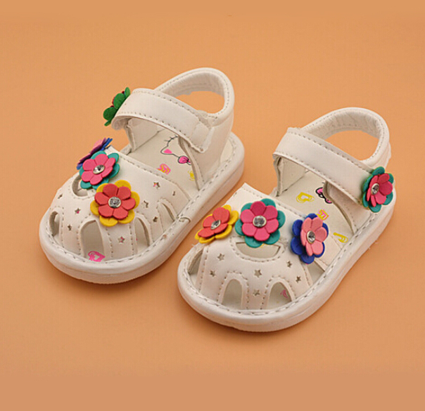 0-2 years old baby shoes baby sandals beautiful flower baby girl pu leather shoes girls breathable hollow infant girl sandals(China (Mainland))