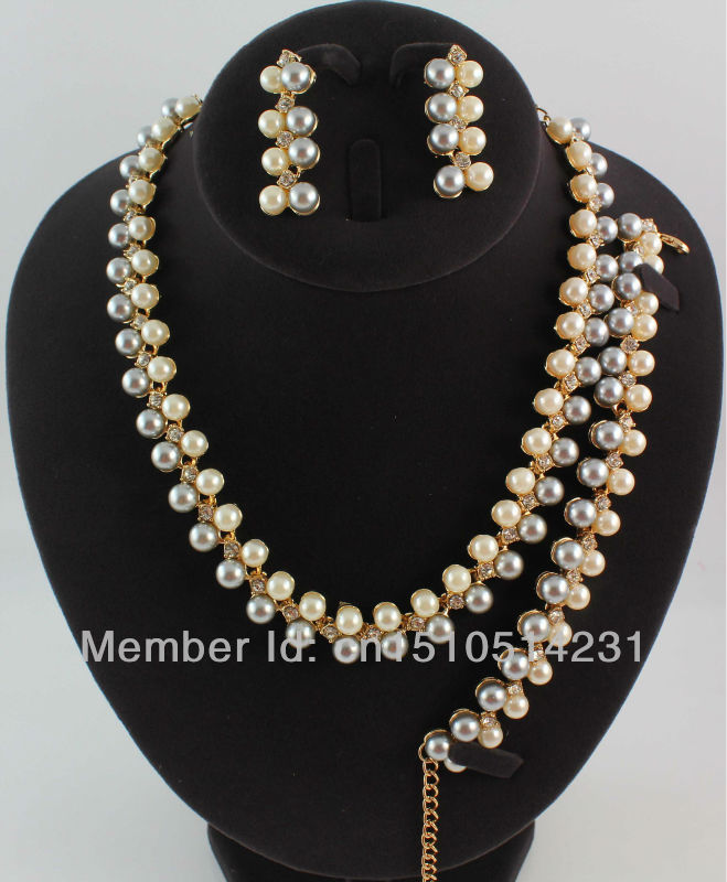 Free Shipping Classic Imitated Pearl Jewelry Set Gold/Silver Plated Clear Crystal New Arrival Party Gift(China (Mainland))
