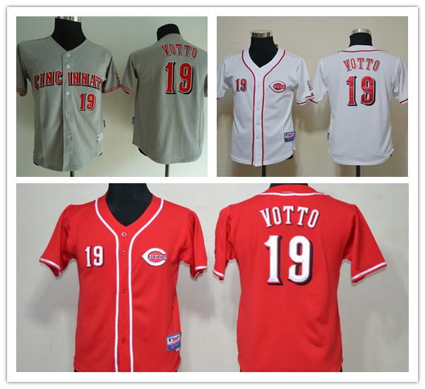 Kids Joey Votto Youth Jersey Red100% Polyester Boys Cincinnati Reds 19 Joey Votto Jersey Child White Gray(China (Mainland))