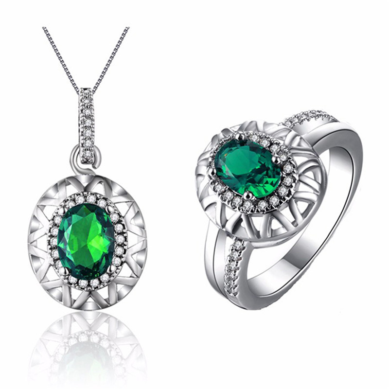 Romantic Green Crystal Wedding Jewelry Sets White Gold Plated Emerald CZ Diamond Jewelry Necklace Set Parure Bijoux Femme QT010(China (Mainland))