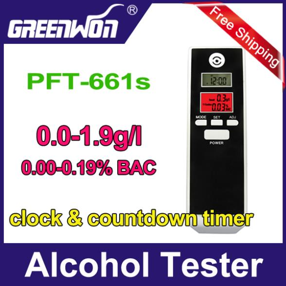 Free shipping Dual LCD display Alcohol Tester Breathalyzer with Clock, hidden exhale tube,alcohol breath tester 2pcs/lot(China (Mainland))