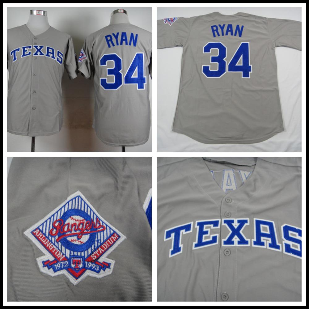 Nolan Ryan Jersey Texas Rangers 34# Throwback Baseball Jersey, Stitched Gray White High Quality(China (Mainland))