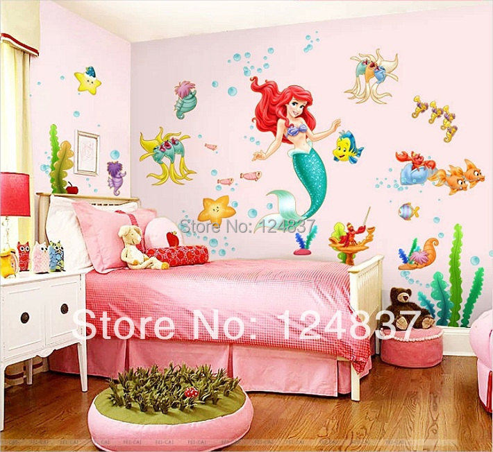 2014 New Mermaid Wall Decals Fishes Art Home Decoration Children 39 S Room Decor Wall Stickers