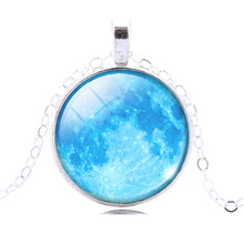 New Glass Galaxy Cabochon Full Moon Necklaces Pendants Chain Necklaces Charms Jewelry For Fashion Women Men