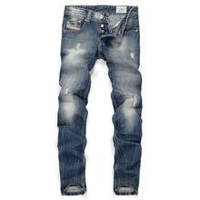 2016 Men's Famous Designer Fashion Cotton Denim Hole Ripped Jeans Casual Straight Jeans Male Men's Jeans Trousers Plus Size 40
