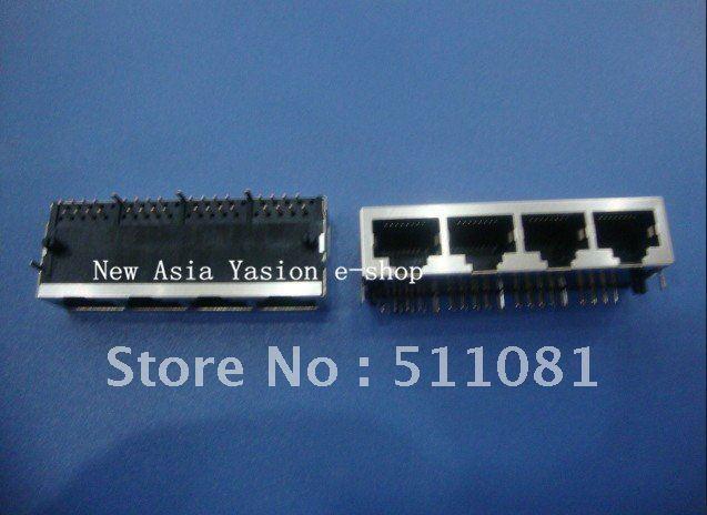 Free Shipping 10 PCS PCB Jack Connector RJ45 Modular jack Network 90 degrees in 8P8C 1x4 PORTS PCB socket/ LAN Connector(China (Mainland))